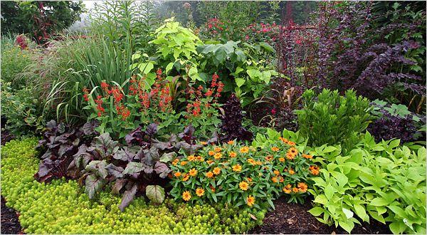Асимметричный пример оформления клумб и цветников