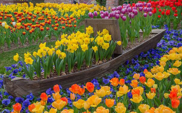 Лодка в виде цветника