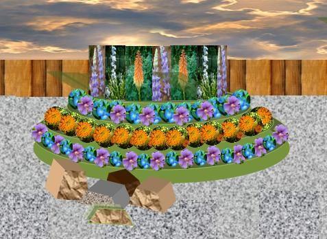 Каскад - популярная форма для оформления цветников и клумб
